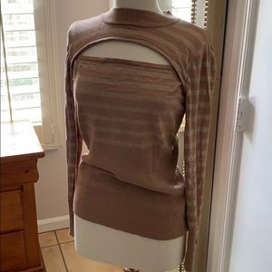 Tan and gold Guess sweater with front slit